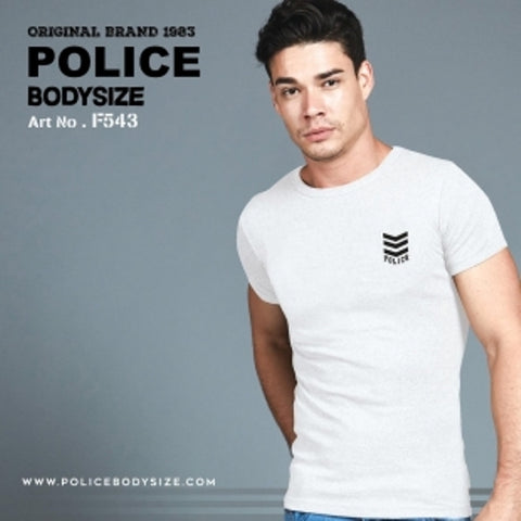 POLICE F.543 FREESIZE WHITE MEDIUM PRINTED SHORT SLEEVE T-SHIRT