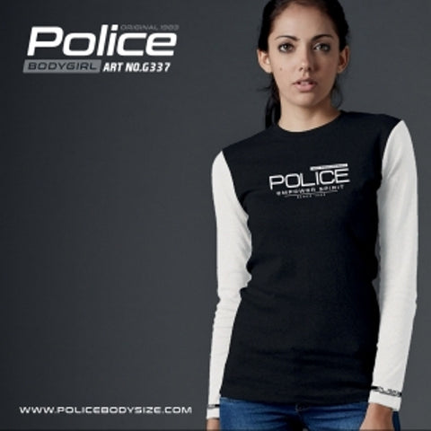 POLICE G.337 BODYGIRL BLACK MEDIUM PRINTED LONG SLEEVE T-SHIRT