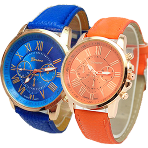 Geneva 9701 Dark Blue Orange 9701 Leather Watch Bundle