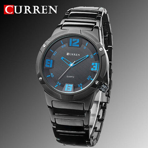 CURREN 8111 BLACK STAINLESS BLACK FACE BLUE NUMBERS