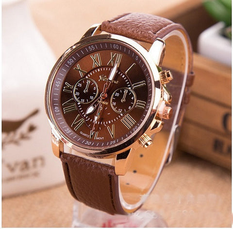 GENEVA 9701 Brown Leather Strap Unisex Wrist Watch
