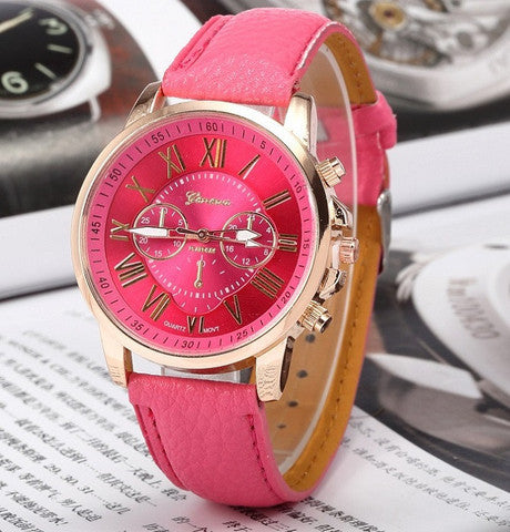 GENEVA 9701 Dark Pink Leather Strap Unisex Wrist Watch