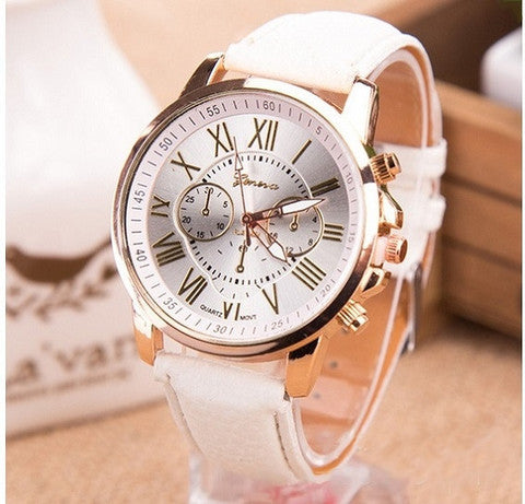 GENEVA 9701 White Leather Strap Unisex Wrist Watch
