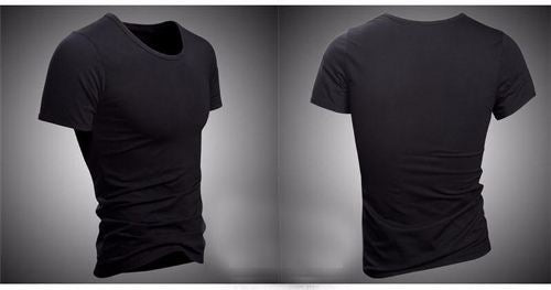 CHASE DEER PLAIN BLACK O-NECK M/L/XL T-SHIRT