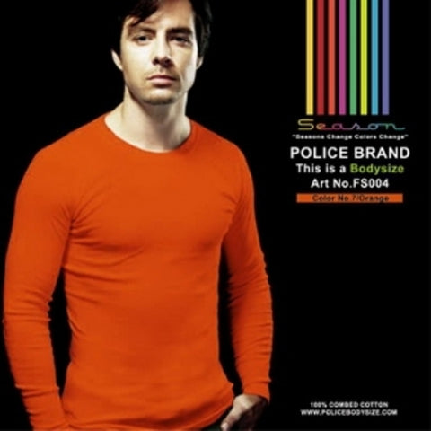 POLICE FS.004 FREESIZE PLAIN ORANGE MEDIUM LONG SLEEVE T-SHIRT