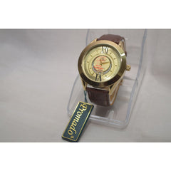 Promado B3750GDL 18K GOLD Brown Leather Gold Face Watch