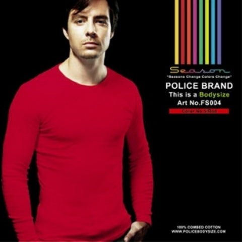 POLICE FS.004 FREESIZE PLAIN RED MEDIUM LONG SLEEVE T-SHIRT