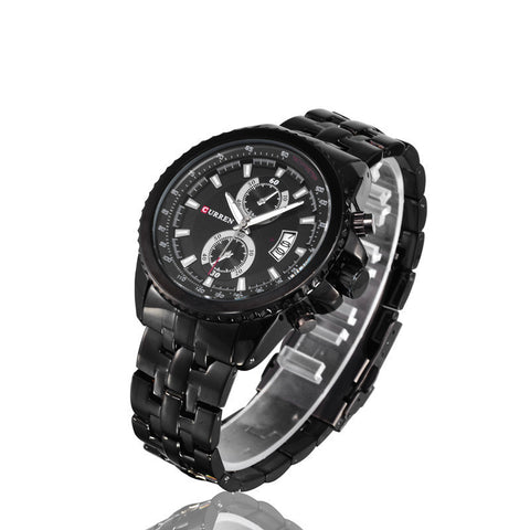 CURREN 8082  BLACK FACE BLACK STEEL STRAP