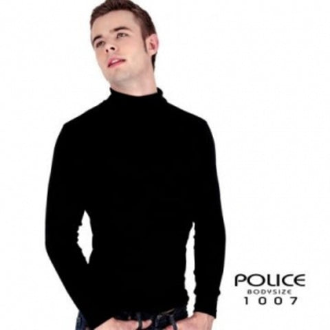 POLICE 1007 FREESIZE TURTLE NECK PLAIN BLACK/WHITE/GREY MEDIUM LONG SLEEVE T-SHIRT