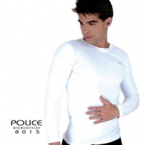 POLICE X.015 XTRASIZE PLAIN BLACK/WHITE/GREY LARGE LONG SLEEVE T-SHIRT