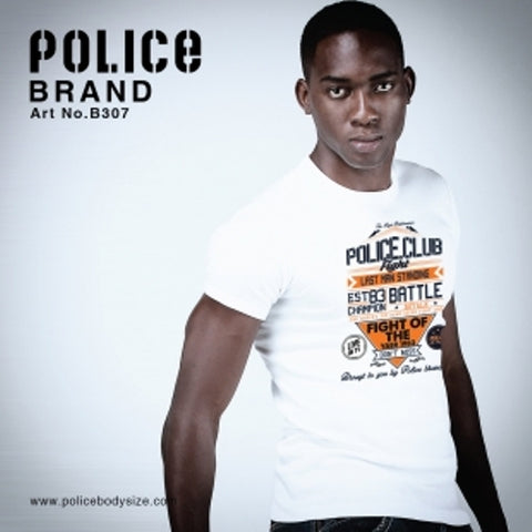 POLICE B.307 BIGSIZE WHITE/BLACK/GREY LARGE PRINTED SHORT SLEEVE T-SHIRT