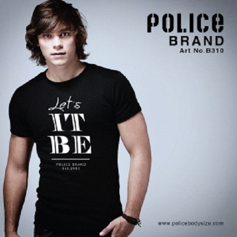 POLICE B.310 BIGSIZE WHITE/BLACK/GREY LARGE PRINTED SHORT SLEEVE T-SHIRT