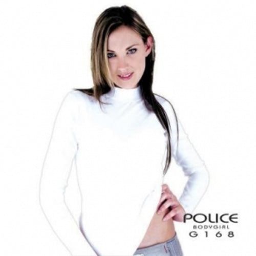 POLICE G.168 BODYGIRL GREY/BLACK/WHITE MEDIUM TURTLE NECK LONG SLEEVE T- SHIRT