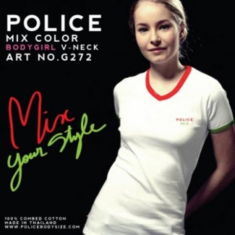 POLICE G.272 BODYGIRL BLACK/WHITE/GREY MEDIUM PRINTED SHORT SLEEVE T-SHIRT