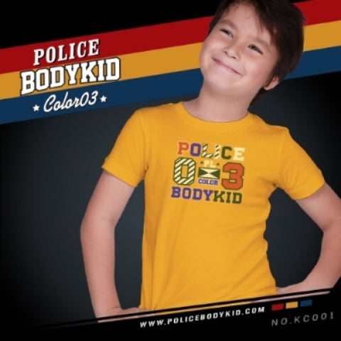 POLICE KC.001 BODYKID PRINTED YELLOW 2-4/4-6/6-8YRS SHORT SLEEVE T-SHIRT