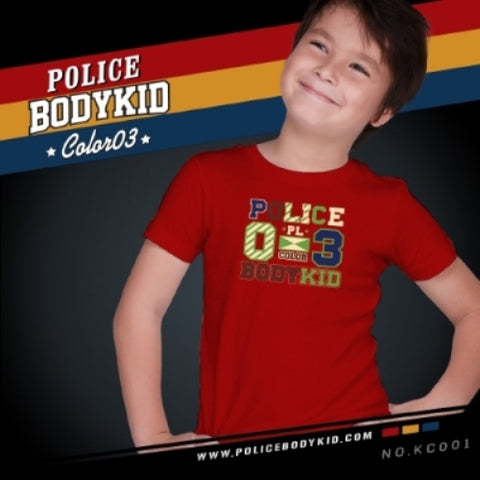 POLICE KC.001 BODYKID RED 2-4/4-6/6-8YRS PRINTED SHORT SLEEVE T-SHIRT