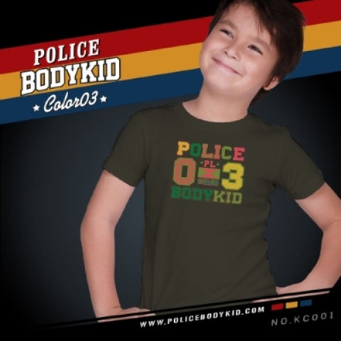 POLICE KC.001 BODYKID GREY 2-4/4-6/6-8YRS PRINTED SHORT SLEEVE T-SHIRT