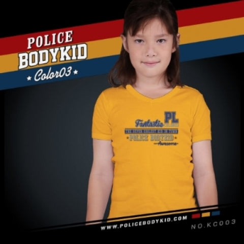 POLICE KC.003 BODYKID YELLOW 2-4/4-6/6-8YRS PRINTED SHORT SLEEVE T-SHIRT