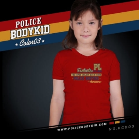POLICE KC.003 BODYKID RED 2-4/4-6/6-8YRS PRINTED SHORT SLEEVE T-SHIRT