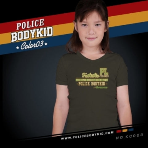 POLICE KC.003 BODYKID GREY 2-4/4-6/6-8YRS PRINTED SHORT SLEEVE T-SHIRT