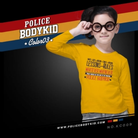 POLICE KC.009 BODYKID YELLOW 2-4/4-6/6-8YRS PRINTED LONG SLEEVE T-SHIRT