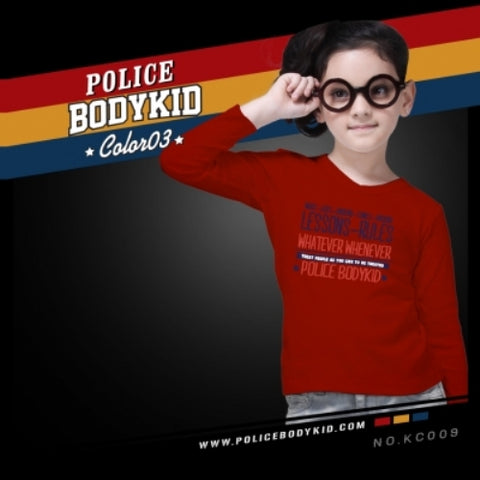 POLICE KC.009 BODYKID RED 2-4/4-6/6-8YRS PRINTED LONG SLEEVE T-SHIRT