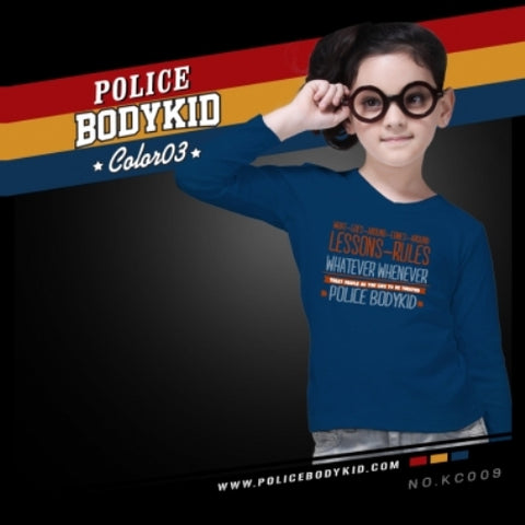 POLICE KC.009 BODYKID NAVY BLUE 2-4/4-6/6-8YRS PRINTED LONG SLEEVE T-SHIRT