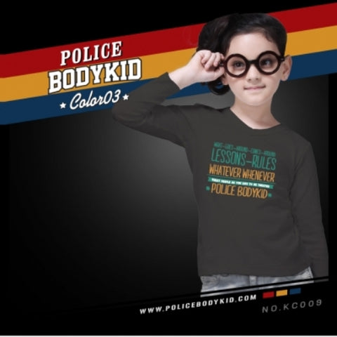 POLICE KC.009 BODYKID GREY 2-4/4-6/6-8YRS PRINTED LONG SLEEVE T-SHIRT