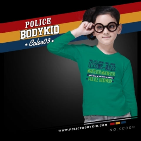 POLICE KC.009 BODYKID GREEN 2-4/4-6/6-8YRS PRINTED LONG SLEEVE T-SHIRT