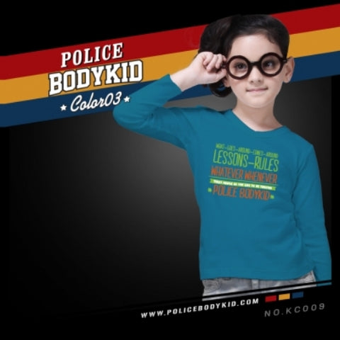 POLICE KC.009 BODYKID LITE BLUE 2-4/4-6/6-8YRS PRINTED LONG SLEEVE T-SHIRT