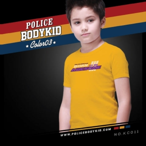 POLICE KC.011 BODYKID YELLOW 2-4/4-6/6-8YRS PRINTED SHORT SLEEVE T-SHIRT