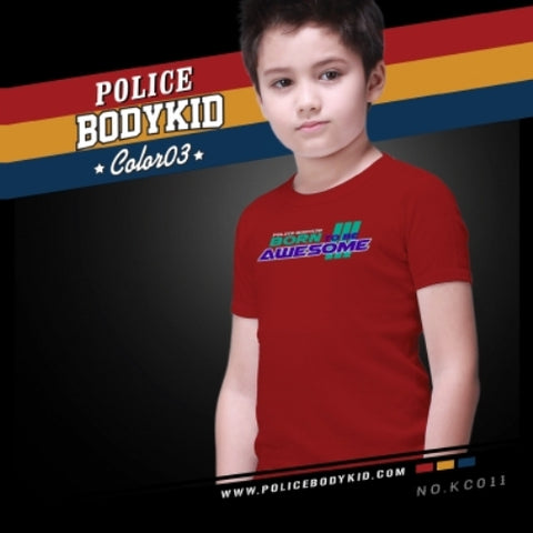 POLICE KC.011 BODYKID RED 2-4/4-6/6-8YRS PRINTED SHORT SLEEVE T-SHIRT