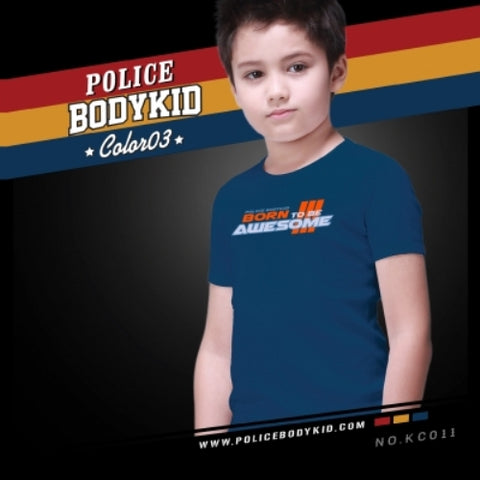 POLICE KC.011 BODYKID NAVY BLUE 2-4/4-6/6-8YRS PRINTED SHORT SLEEVE T-SHIRT