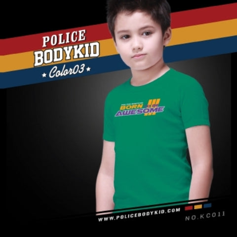 POLICE KC.011 BODYKID GREEN 2-4/4-6/6-8YRS PRINTED SHORT SLEEVE T-SHIRT