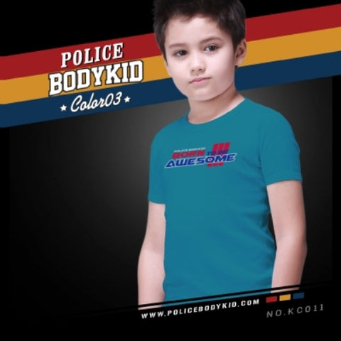 POLICE KC.011 BODYKID LITE BLUE 2-4/4-6/6-8YRS PRINTED SHORT SLEEVE T-SHIRT