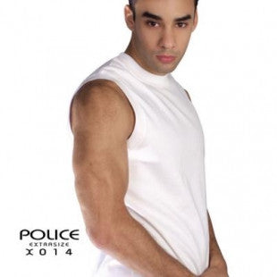 POLICE X.014 EXTRASIZE PLAIN BLACK XL ARMLESS T-SHIRT