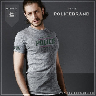 POLICE B.321 BIGSIZE WHITE/BLACK/GREY LARGE PRINTED SHORT SLEEVE T-SHIRT