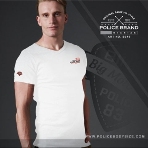 POLICE B.349 BIGSIZE WHITE LARGE PRINTED SHORT SLEEVE T-SHIRT