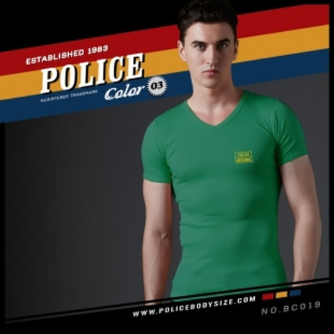 POLICE BC.019 BIGSIZE GREEN LARGE PRINTED SHORT SLEEVE T-SHIRT