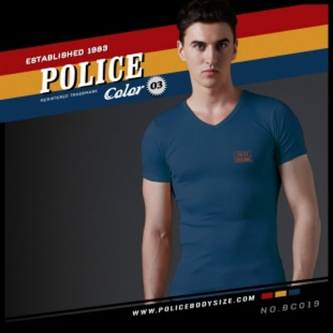 POLICE BC.019 BIGSIZE NAVY BLUE LARGE SHORT SLEEVE T-SHIRT