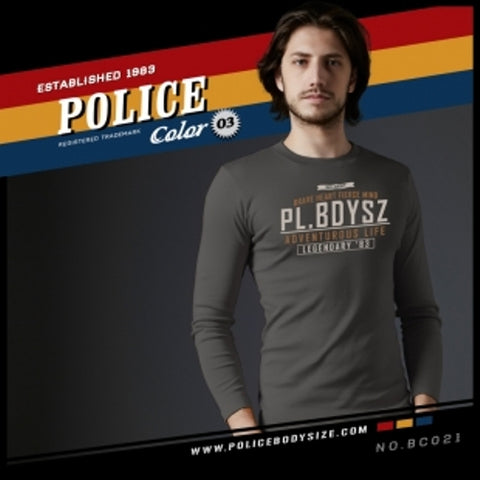 POLICE BC.021 BIGSIZE GREY LARGE PRINTED LONG SLEEVE T-SHIRT