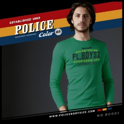 POLICE BC.021 BIGSIZE GREEN LARGE PRINTED LONG SLEEVE T-SHIRT