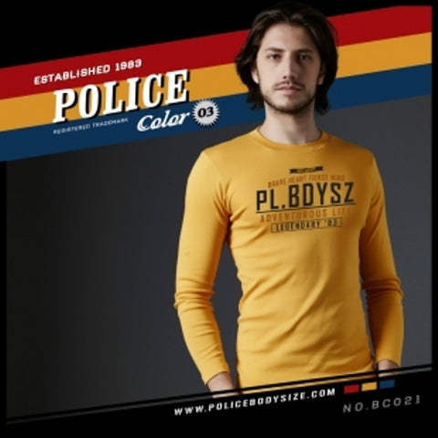 POLICE BC.021 BIGSIZE YELLOW LARGE LONG SLEEVE T-SHIRT
