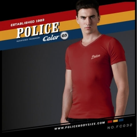 POLICE FC.032 FREESIZE RED MEDIUM PRINTED SHORT SLEVEE T-SHIRT