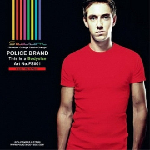 POLICE FS.001 FRESIZE PLAIN RED MEDIUM SHORT SLEEVE T-SHIRT