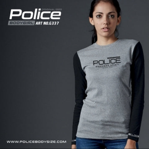 POLICE G.337 BODYGIRL GREY MEDIUM PRINTED LONG SLEEVE T-SHIRT