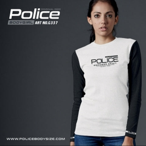 POLICE G.337 BODYGIRL WHITE MEDIUM PRINTED LONG SLEEVE T-SHIRT