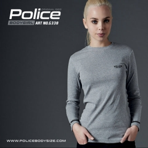 POLICE G.338 BODYGIRL GREY MEDIUM PRINTED LONG SLEEVE T-SHIRT