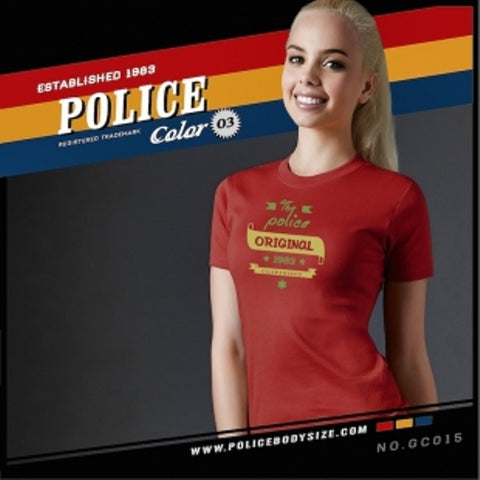 POLICE GC.015 BODYGIRL RED MEDIUM PRINTED SHORT SLEEVE T-SHIRT