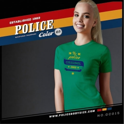 POLICE GC.015 BODYGIRL GREEN MEDIUM SHORT SLEEVE T-SHIRT